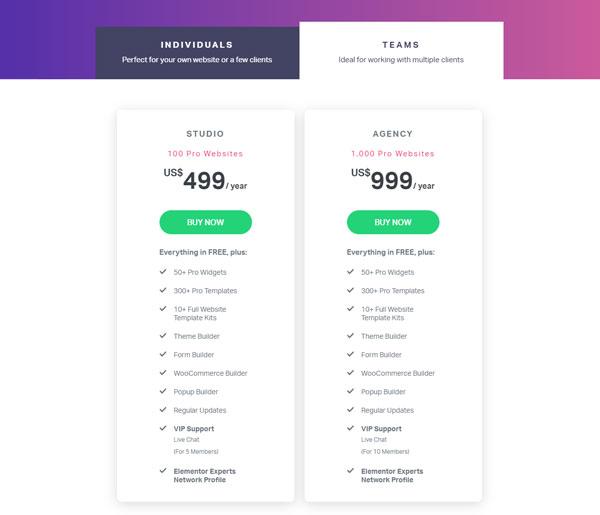 Elementor Teams Pricing